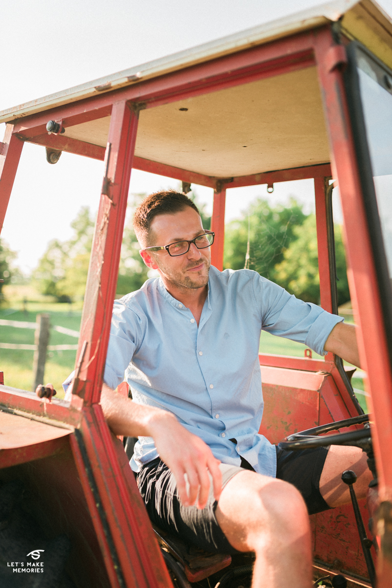 groom driving a tractor