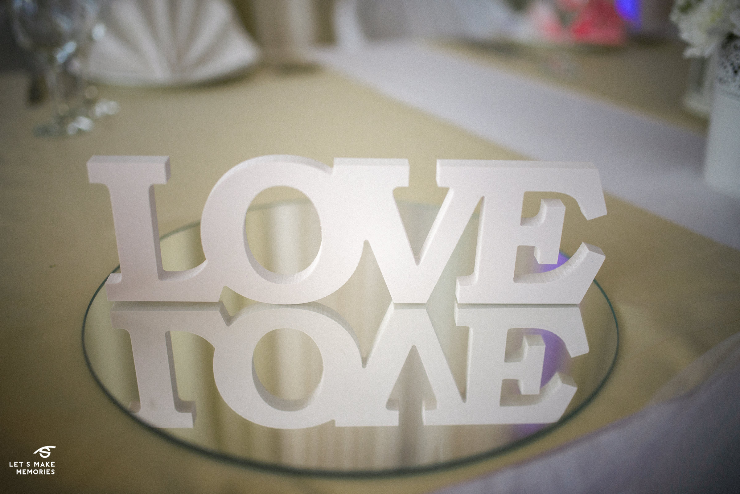 LOVE decoration on wedding table