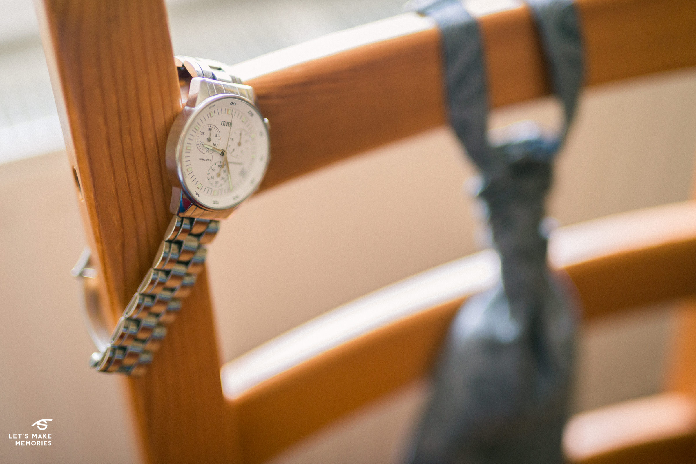 detail shot of grooms watch