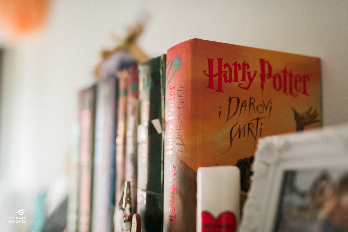 Harry Potter and Deathly Hallows brides book in her old room