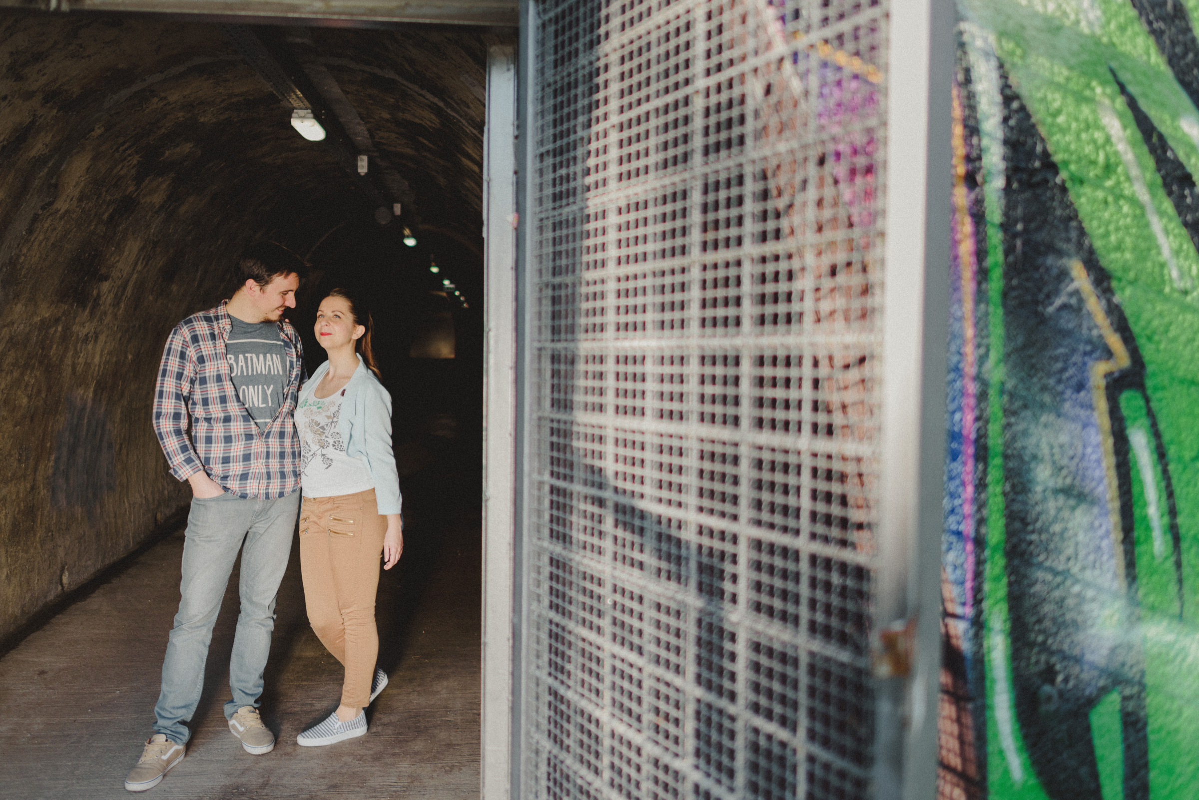 couple mingling on entrance of Tunnel Grič in middle of City of zagreb