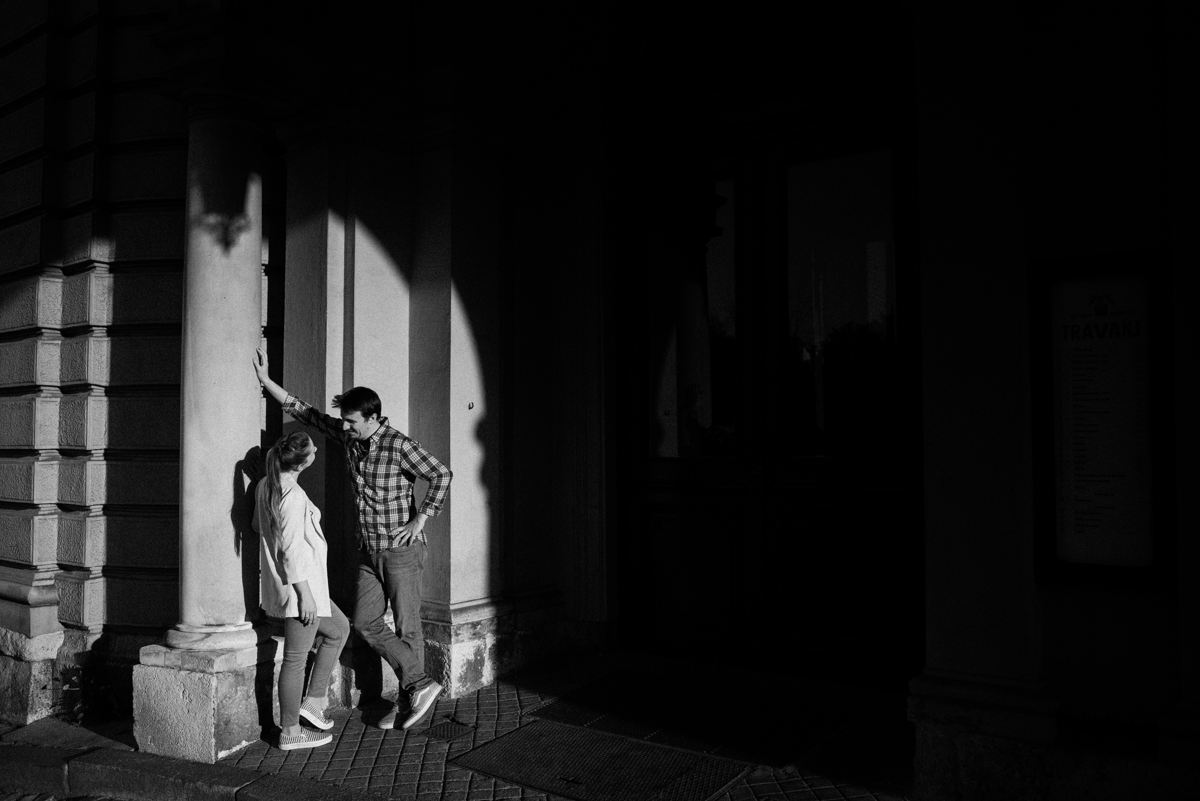 Couple talking on hard light