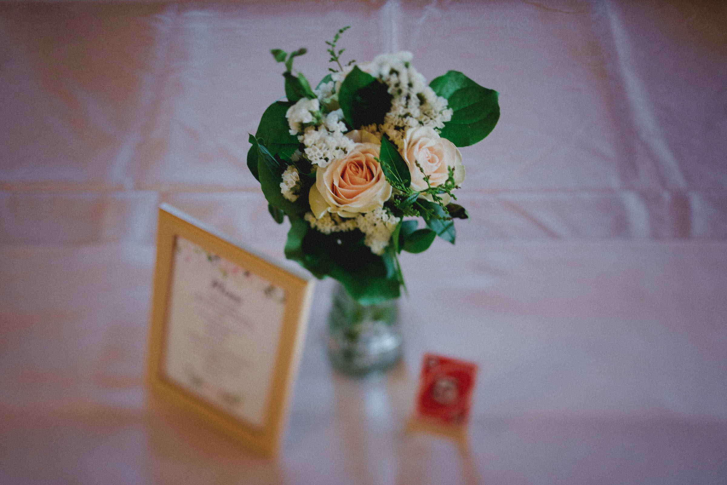 detailed shot of flowers on a table