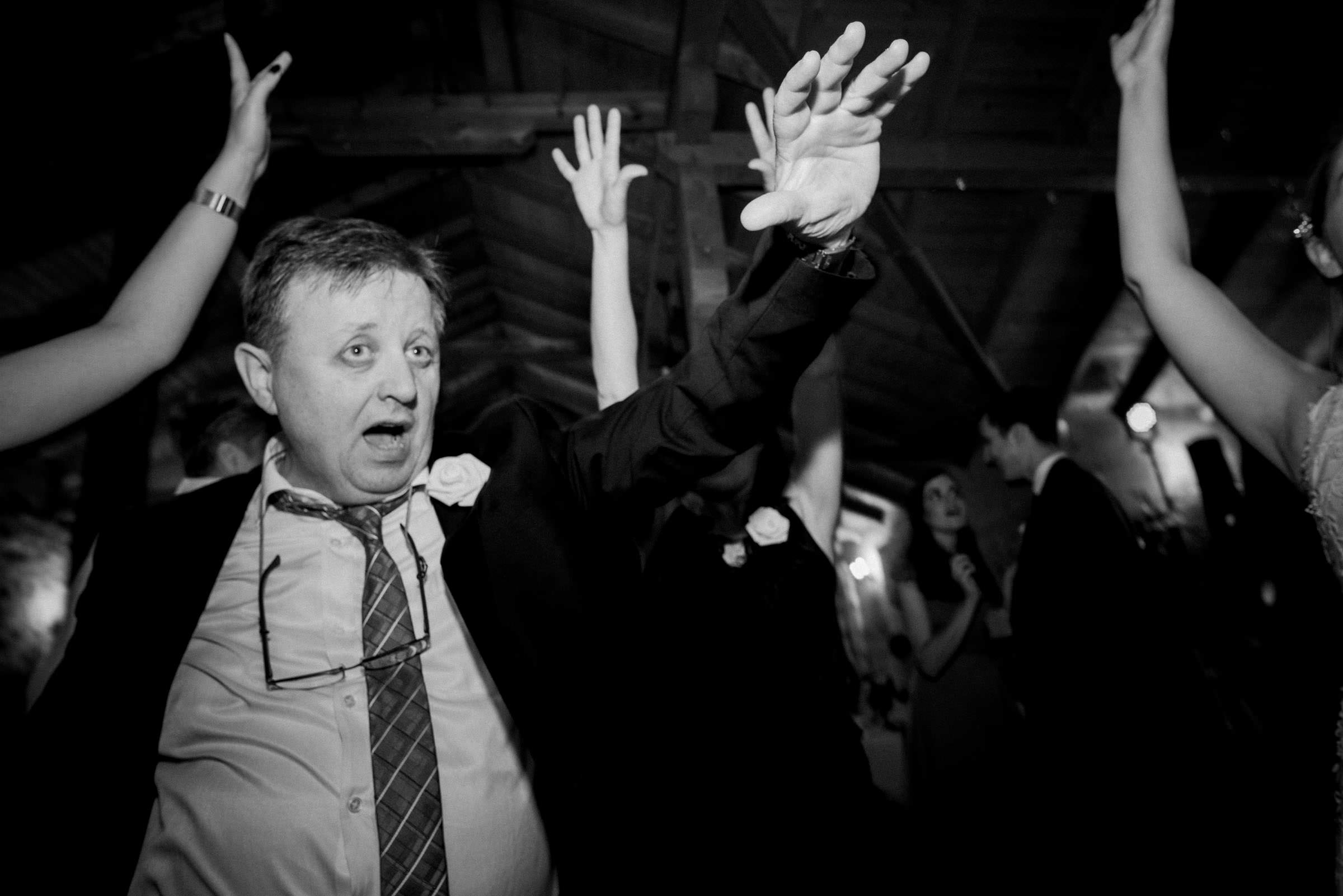 grooms father dancing to the music
