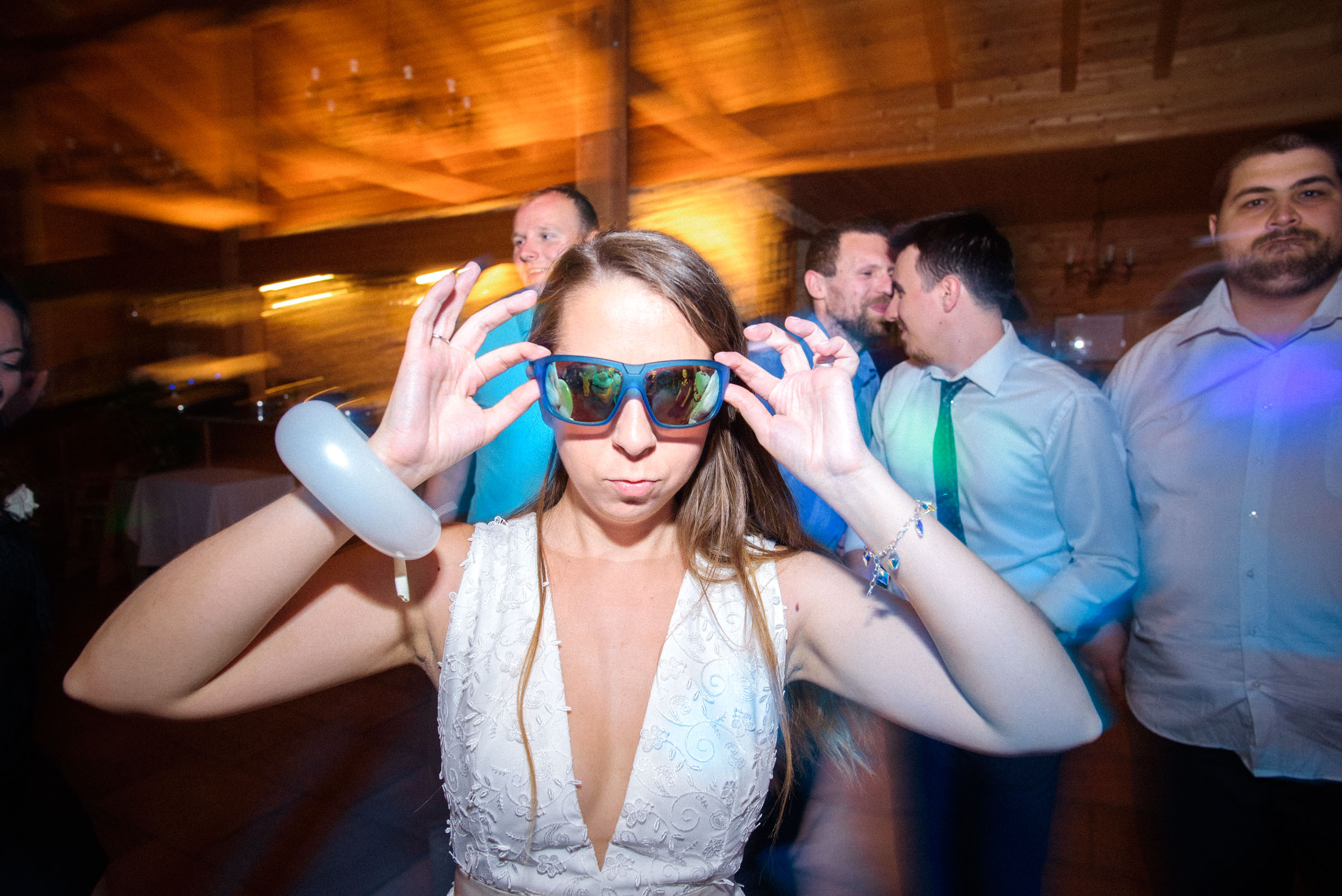bride wearing crazy glasses