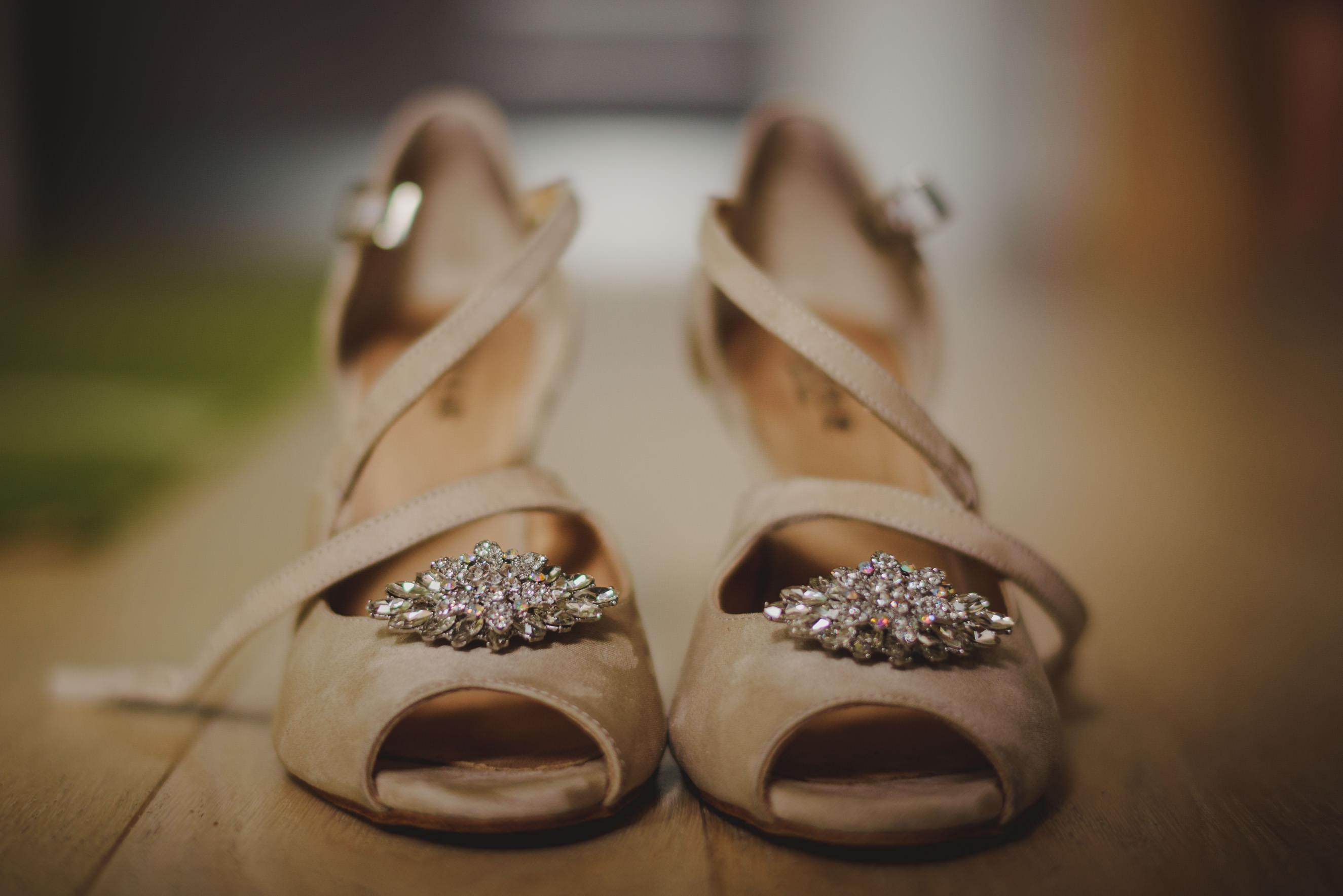 setup shot of wedding shoes by Jimmy Choo