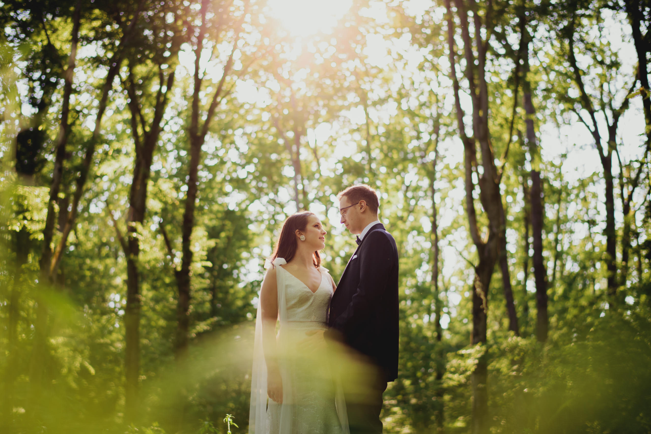 bride and groom standing in the middle of the wood being backlight by the sun