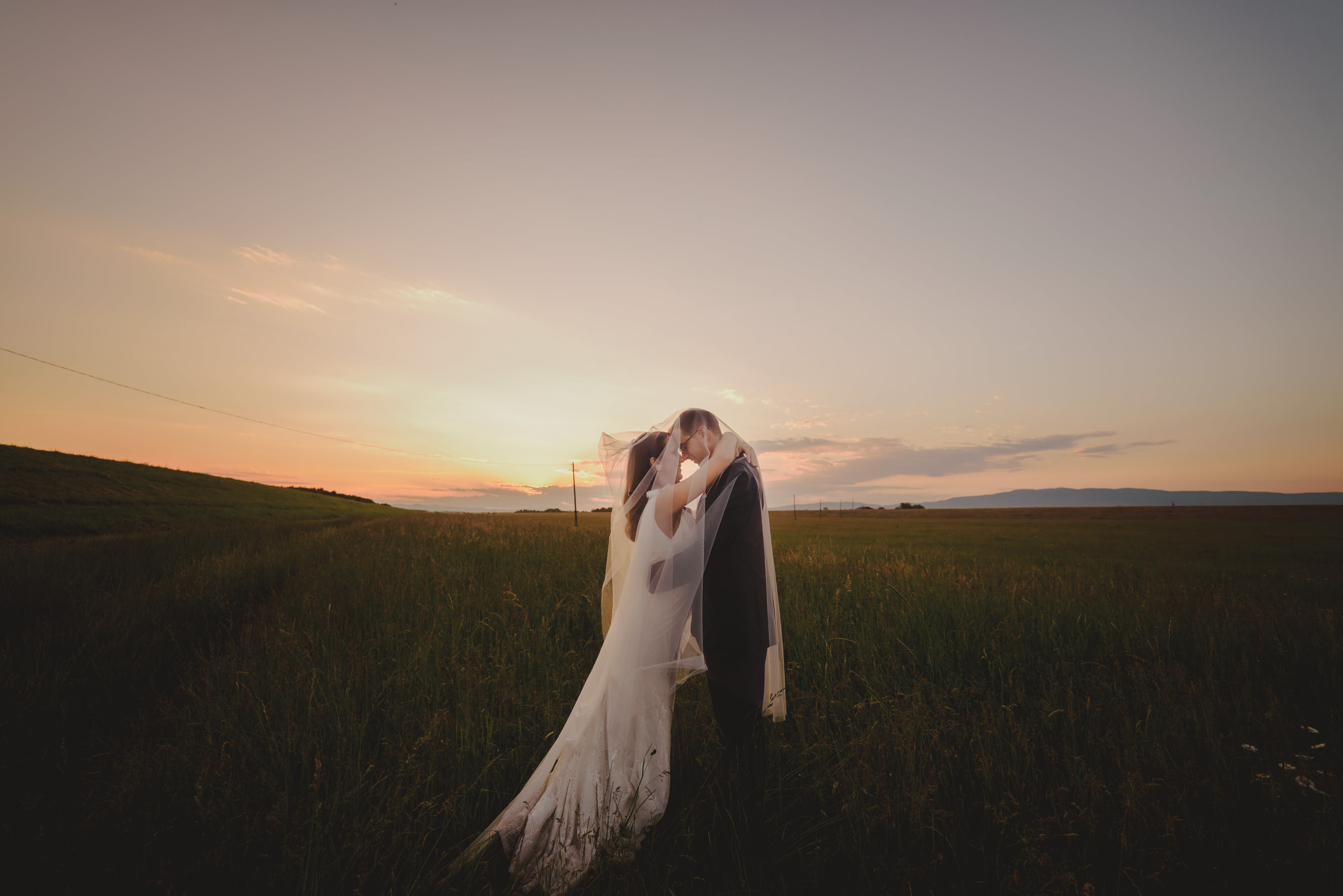 bride and groom hugging under the veil in the middle of the meadow