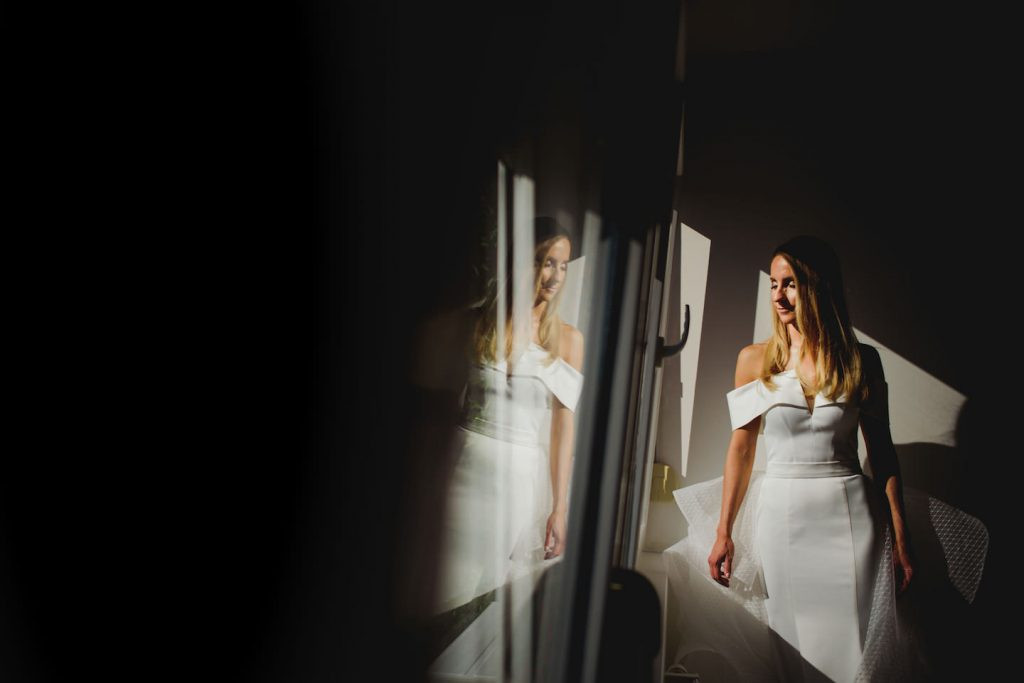 portrait of a bride in a hard light