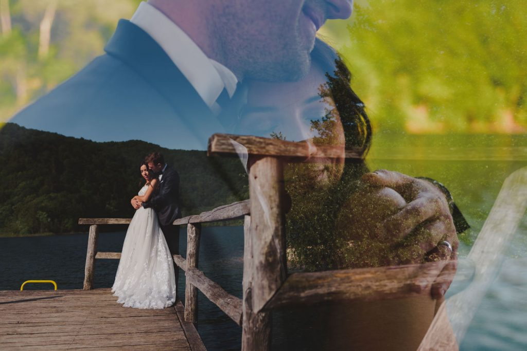 double exposure of bride and groom