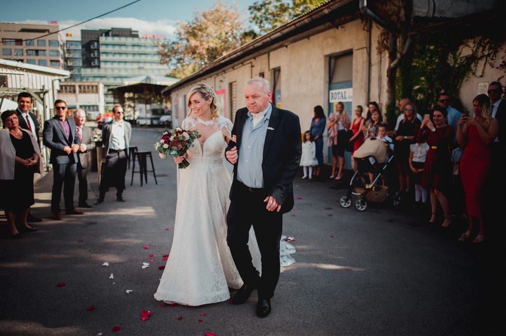 father walking bride towards ceremony in studio katran for a wedding, zagreb