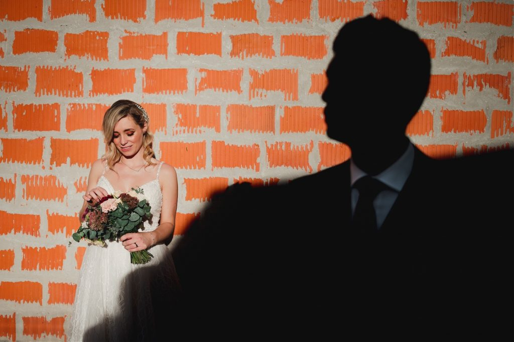 bride and groom photo session, light and dark image