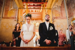 emotional moment of bride and groom crying during the ceremony in Remete, Zagreb